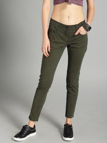 Roadster Women Olive Green Skinny Fit Chinos Roadster Trousers at myntra