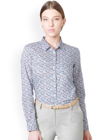 Allen Solly Woman Women Blue Regular Fit Printed Casual Shirt Allen Solly Woman Shirts at myntra