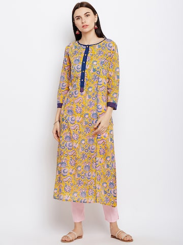 Lyla Women Yellow Printed Straight Kurta Lyla Kurtas at myntra