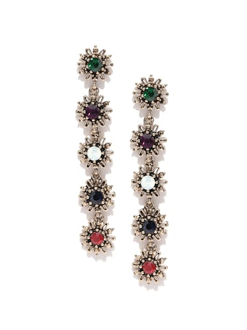 ToniQ Multicoloured Crystal-Studded Contemporary Drop Earrings ToniQ Earrings at myntra
