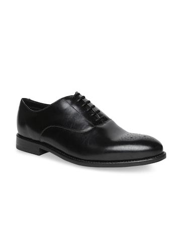 Clarks Men Black Leather Formal Oxford Shoes Clarks Formal Shoes at myntra