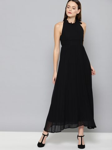 Chemistry Women Black Solid Fit & Flare Maxi Dress Chemistry Dresses at myntra