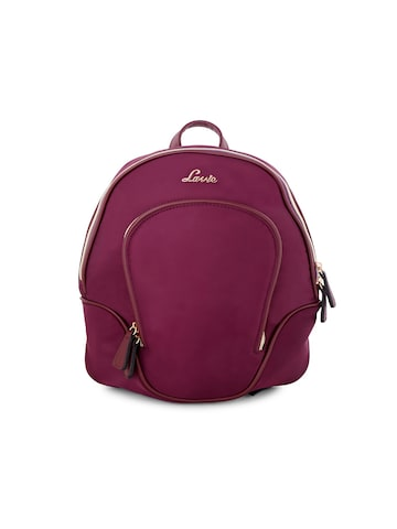 Lavie Women Burgundy Solid Backpack Lavie Backpacks at myntra
