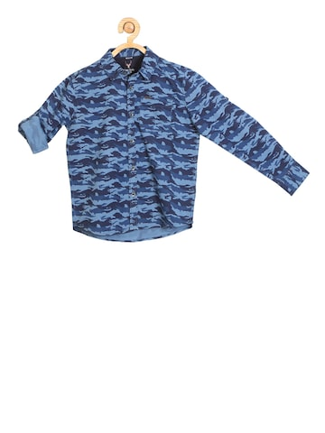 Allen Solly Junior Boys Blue Regular Fit Camouflage Printed Casual Shirt Allen Solly Junior Shirts at myntra