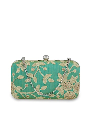 Tarusa Green Embroidered Silk Box Clutch Tarusa Clutches at myntra
