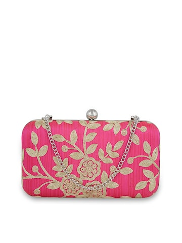 Tarusa Pink Embroidered Silk Box Clutch Tarusa Clutches at myntra