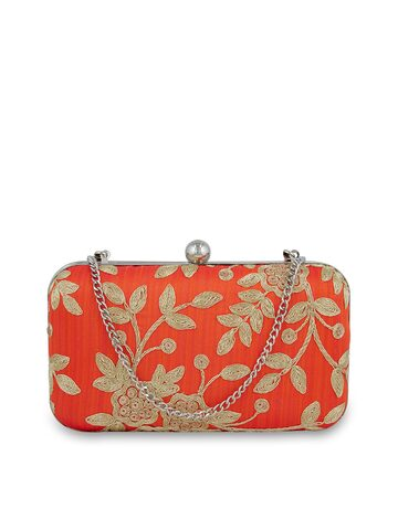Tarusa Orange Embroidered Silk Box Clutch Tarusa Clutches at myntra
