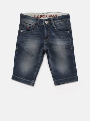 U.S. Polo Assn. Kids Boys Blue Solid Regular Fit Denim Shorts U.S. Polo Assn. Kids Shorts at myntra