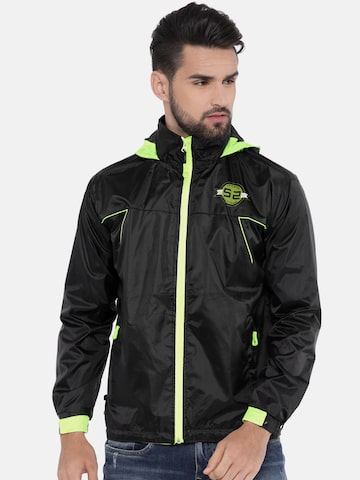 Sports52 wear Black & Fluorescent Green Hooded Rain Jacket Sports52 wear Rain Jacket at myntra