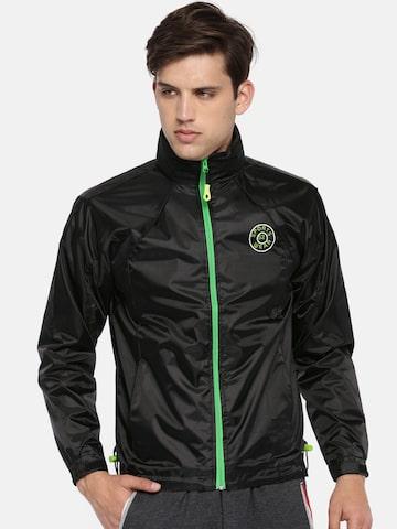 Sports52 wear Black Solid Hooded Rain Jacket Sports52 wear Rain Jacket at myntra