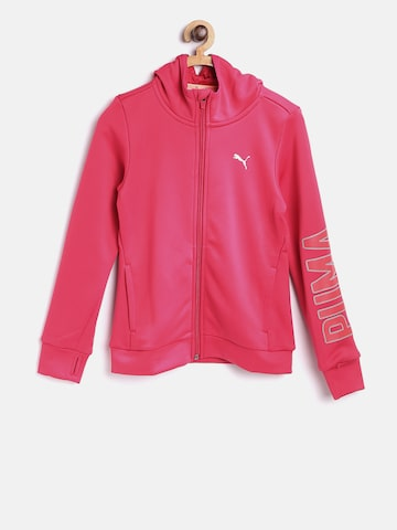 Puma Girls Pink Solid Sporty Jacket Puma Jackets at myntra