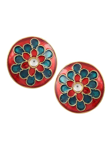 Sia Art Jewellery Gold-Toned & Pink Circular Studs Sia Art Jewellery Earrings at myntra