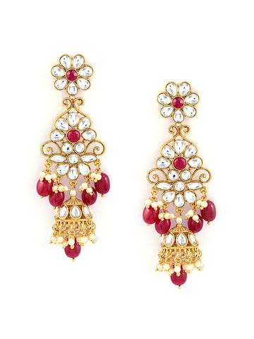 Sia Art Jewellery Gold-Toned & Maroon Dome Shaped Jhumkas Sia Art Jewellery Earrings at myntra