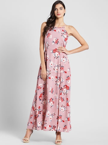 plusS Women Pink Floral Print Maxi Dress plusS Dresses at myntra