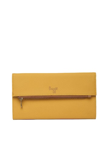 Baggit Women Yellow Textured Three Fold Wallet Baggit Wallets at myntra