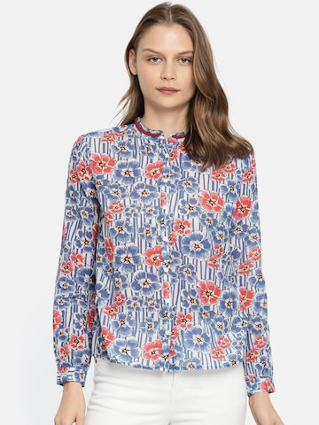 Pepe Jeans Women Blue Regular Fit Printed Casual Shirt Pepe Jeans Shirts at myntra