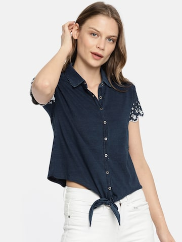 Pepe Jeans Women Navy Blue Regular Fit Printed Casual Shirt Pepe Jeans Shirts at myntra