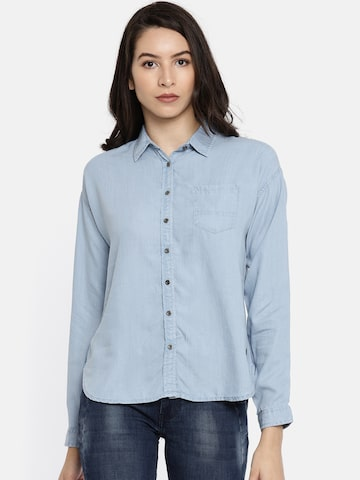 Pepe Jeans Women Blue Regular Fit Solid Casual Denim Shirt Pepe Jeans Shirts at myntra
