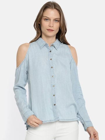 Pepe Jeans Women Blue Regular Fit Solid Casual Shirt Pepe Jeans Shirts at myntra