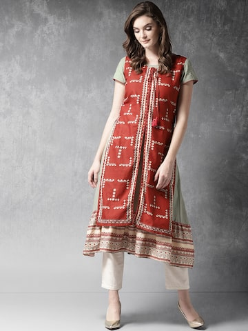Anouk Women Rust Red & Mint Green Bagru Print Layered A-Line Kurta Anouk Kurtas at myntra
