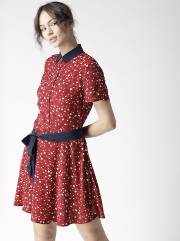 Tommy Hilfiger Women Maroon Printed Shirt Dress Tommy Hilfiger Dresses at myntra