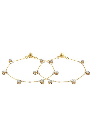 Sia Art Jewellery Set of 2 Gold Toned & White Anklets Sia Art Jewellery Anklet at myntra