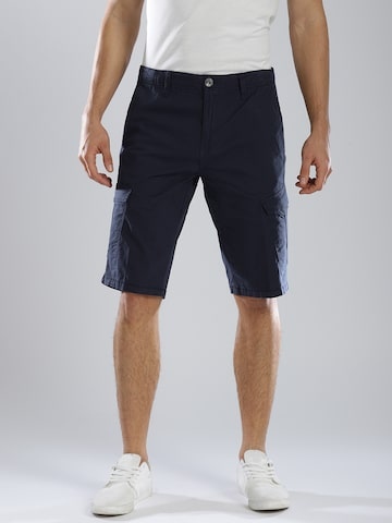 GAS Navy Blue Straight Fit NECKI Cargo Shorts GAS Shorts at myntra