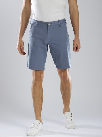 GAS Men Blue Solid Slim Fit Chino Shorts GAS Shorts at myntra