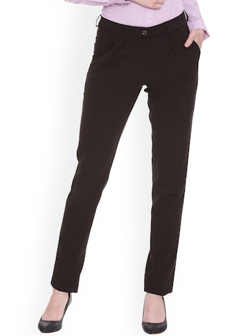 Allen Solly Woman Brown Regular Fit Solid Formal Trousers Allen Solly Woman Trousers at myntra