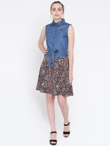 The Gud Look Women Blue Printed Shirt Dress The Gud Look Dresses at myntra