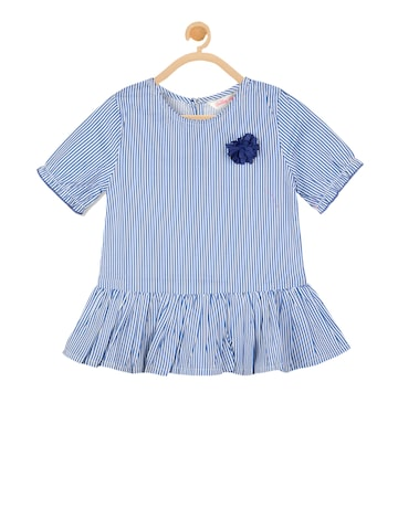 Budding Bees Girls Blue Striped Peplum Top Budding Bees Tops at myntra