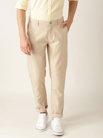 United Colors of Benetton Men Beige Tapered Fit Solid Trousers United Colors of Benetton Trousers at myntra