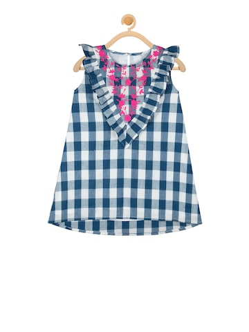 Budding Bees Girls Blue Checked A-Line Dress Budding Bees Dresses at myntra