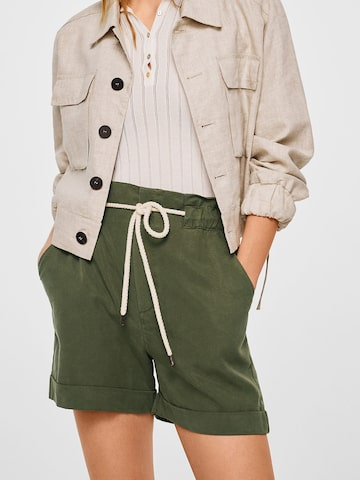 MANGO Women Olive Green Solid Regular Fit Shorts MANGO Shorts at myntra