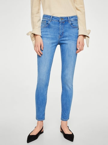 MANGO Women Blue Skinny Fit Mid-Rise Clean Look Stretchable Cropped Jeans MANGO Jeans at myntra