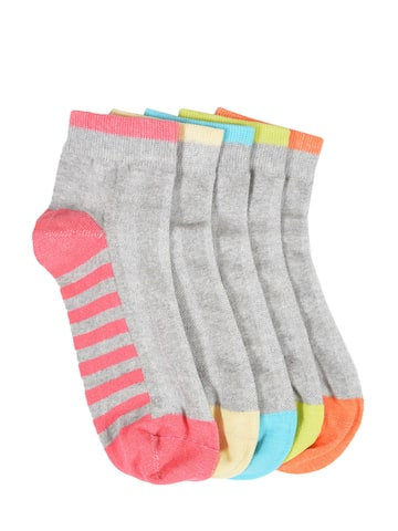 MARC Men Pack of 5 Grey Above Ankle-Length Colourblocked Socks MARC Socks at myntra