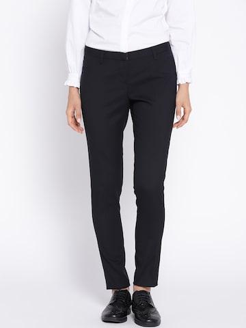 Wills Lifestyle Women Navy Blue Slim Fit Solid Formal Trousers Wills Lifestyle Trousers at myntra