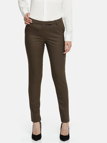 Wills Lifestyle Women Brown Slim Fit Self-Design Formal Trousers Wills Lifestyle Trousers at myntra