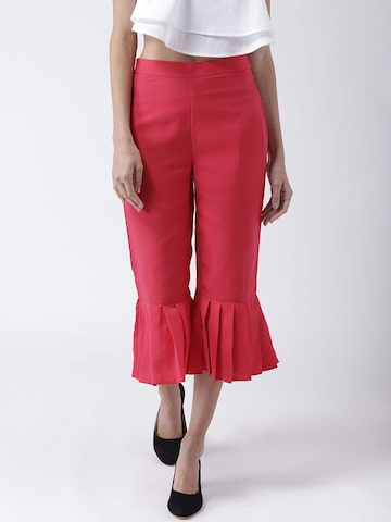 STREET 9 Women Pink Flared Solid Culottes STREET 9 Trousers at myntra