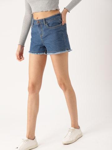 DressBerry Women Blue Solid Regular Fit Denim Shorts DressBerry Shorts at myntra