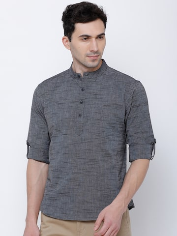 Svanik Men Charcoal Woven Design Straight Kurta Svanik Kurtas at myntra