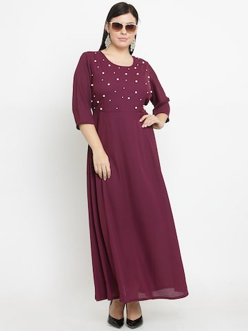plusS Women Burgundy Embellished Maxi Dress plusS Dresses at myntra