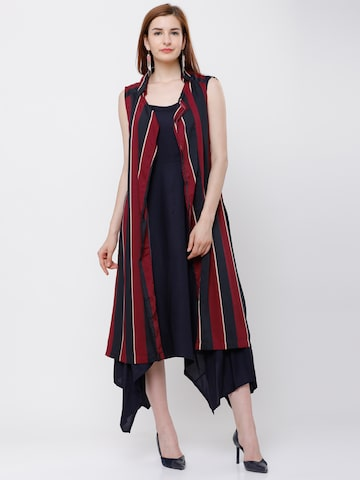 Tokyo Talkies Red & Navy Blue Striped Open Front Shrug Tokyo Talkies Shrug at myntra
