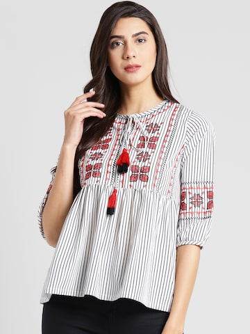 plusS Women White Striped A-Line Top plusS Tops at myntra