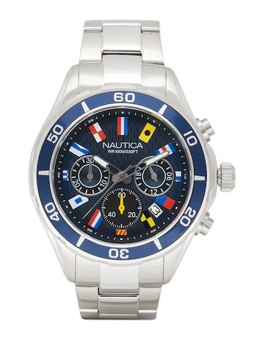 Nautica Men Black & Silver-Toned Analogue Watch JGIQ2OL813K Nautica Watches at myntra