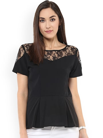Pannkh Women Black Self Design Peplum Top Pannkh Tops at myntra