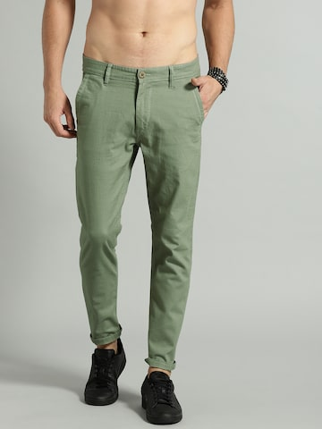 Roadster Men Green Regular Fit Solid Chinos Roadster Trousers at myntra