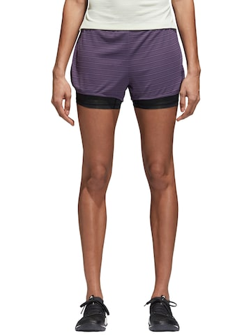 Adidas Women Purple Striped Regular Fit 2IN1 CHILL Sports Shorts Adidas Shorts at myntra