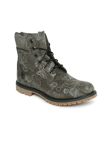 Timberland Women Olive Green Printed 6IN PREM High-Top Flat Boots Timberland Casual Shoes at myntra