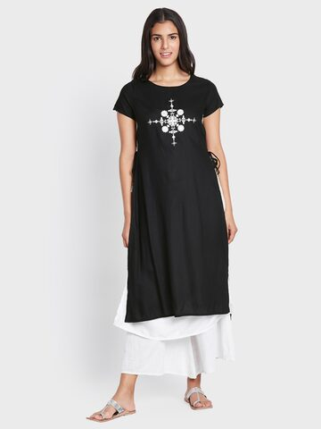 Global Desi Women Black Embellished A-Line Layered Kurta Global Desi Kurtas at myntra